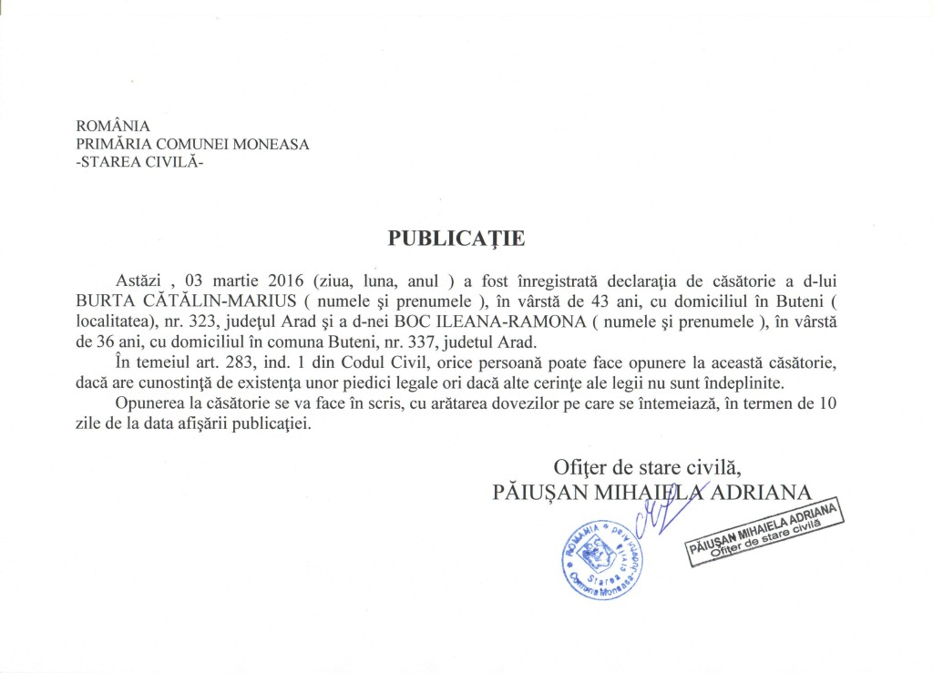 publicatie casatorie BURTA CATALIN MARIUS BOC ILEANA RAMONA