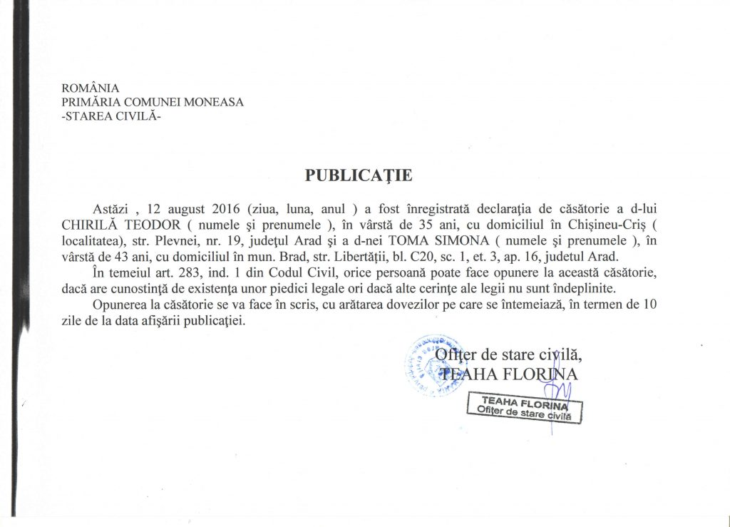 publicatie casatorie 12082016 Chirila Teodor Toma Simona