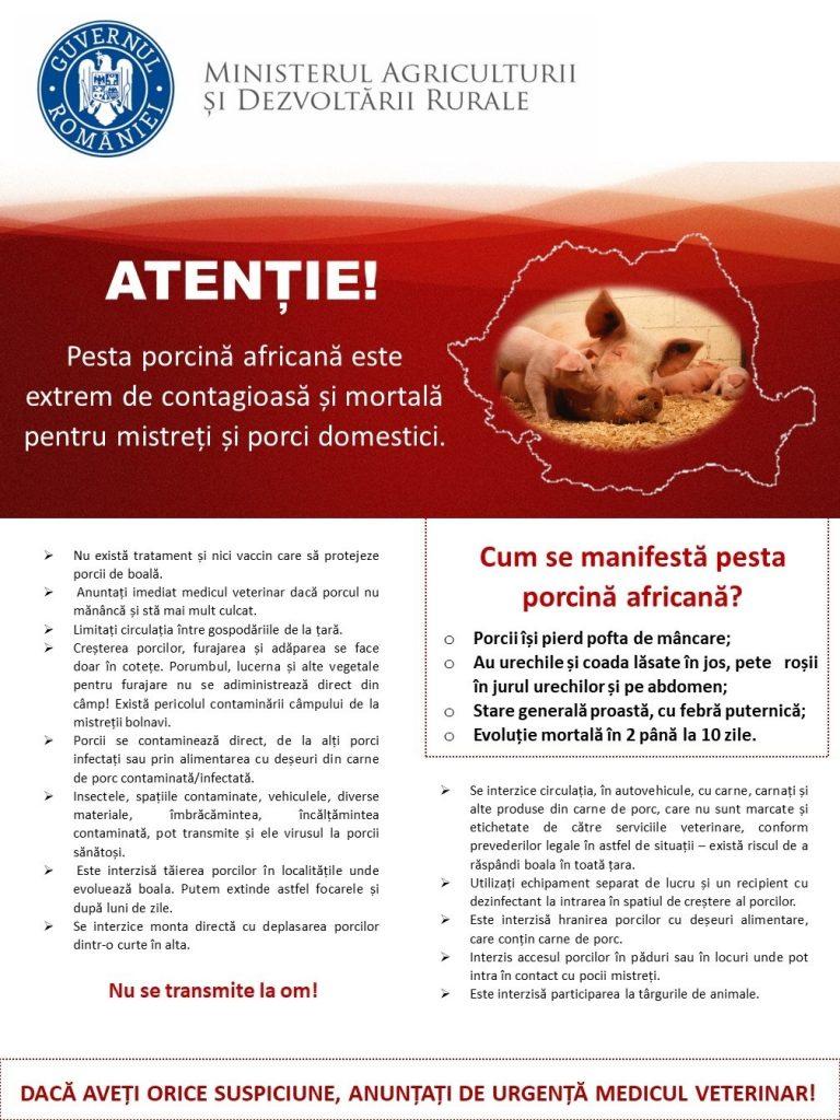 Informare referitoare la prevenirea pestei porcine africane